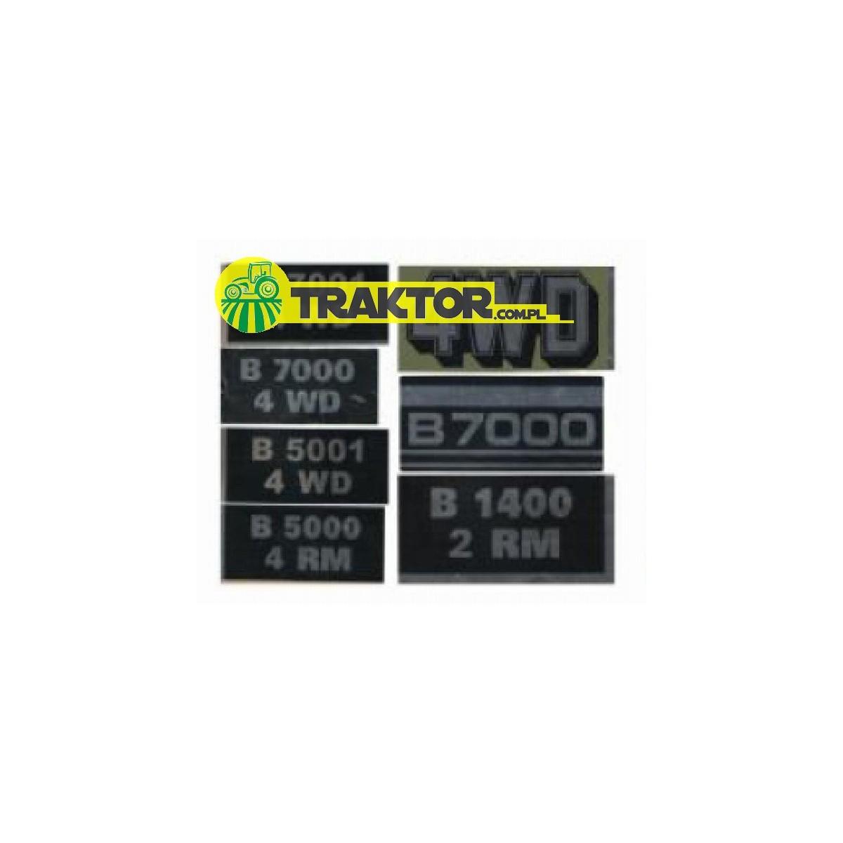 Aufkleber KUBOTA B7000, B7001, B5000, B5001, B6001, 4WD (7 Modelle)