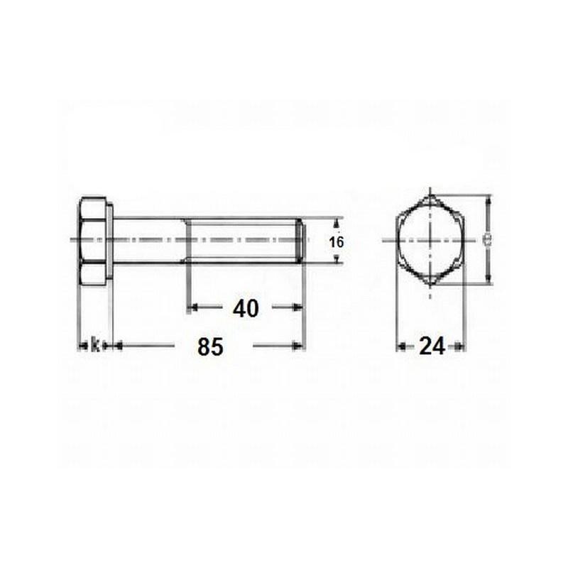 Śruba M16x85, twardość 8.8