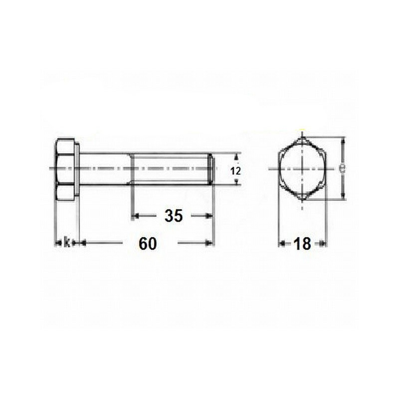 M12x60 screw - hardness 5,6