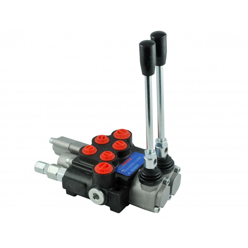 Hydraulic valve 40L 2 section manual manifold with floating section latch