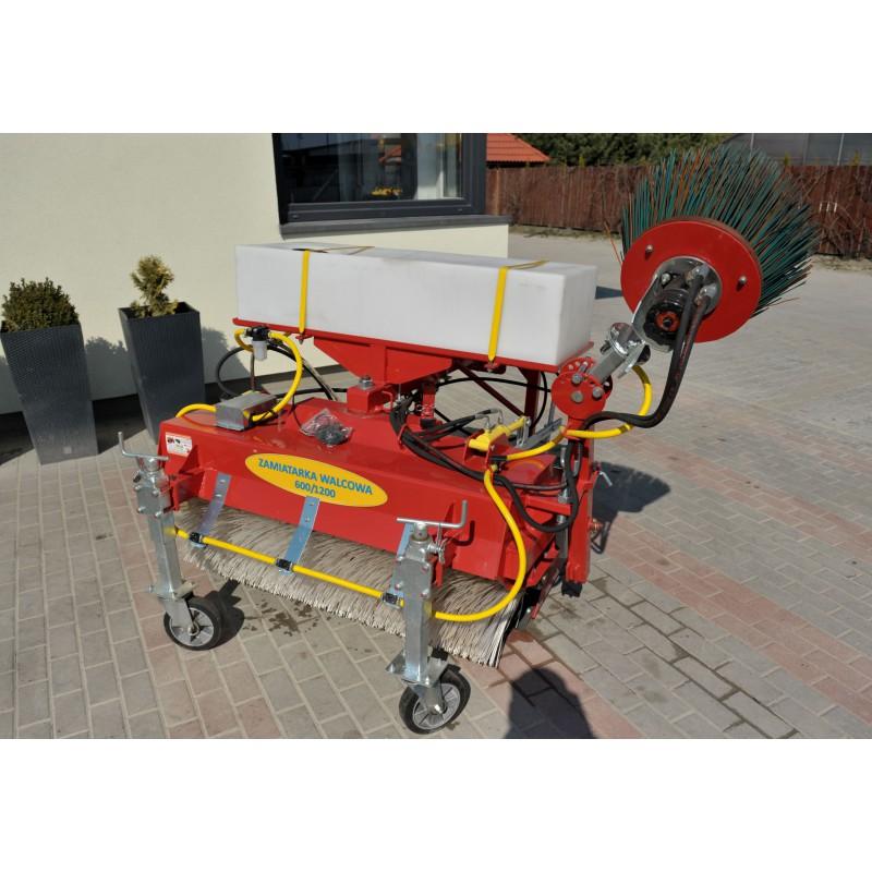 Zamiatarka uliczna walcowa 600/1200 mm z pojemnikiem nawadniającym i boczną szczotką