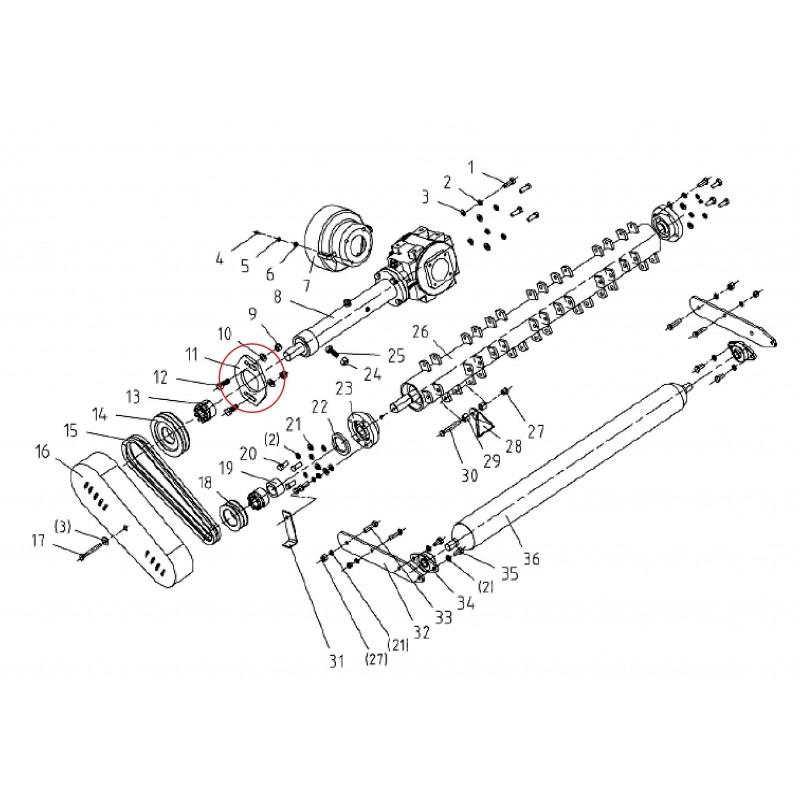 Platte, Schutzrohrunterstützung der Getriebewelle des Schlagmähers