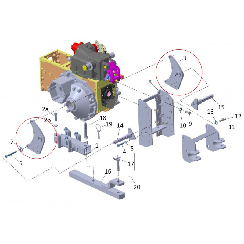 Montageplatte Dreipunktaufhängung 270901011X0 Mitsubishi VST MT180, MT224, MT270