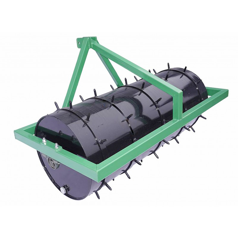 The FBR150 lawn roller is attached to the tractor