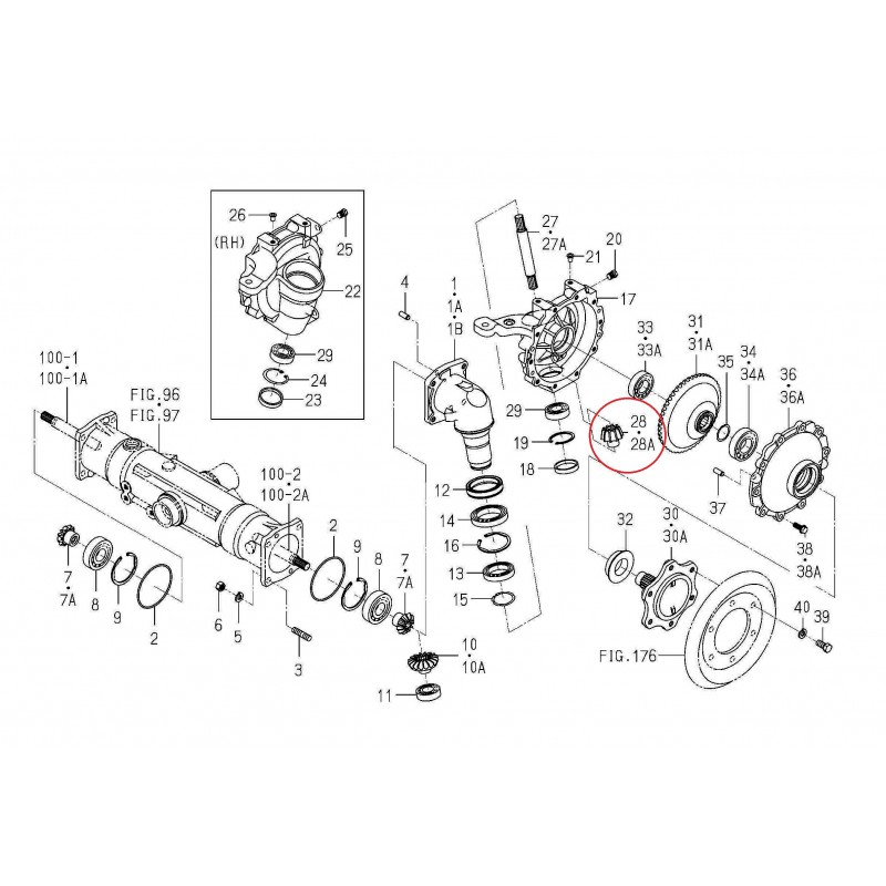 10T, 22T Iseki TH4330 sprocket, 1614-434-008-50 front axle