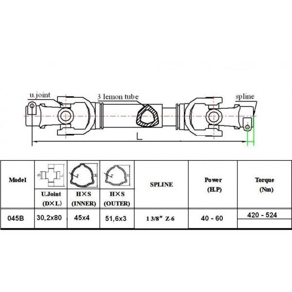 Wałki WOM ze sprzęgłem 045B-ED moc do 60 KM